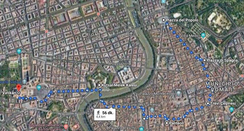 10 Saatlik Kısa Roma Gezi Rehberi (Roma Yürüyüş Rotası)