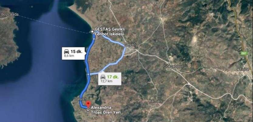 Alexandria Troas Antik Kenti Ulaşım Haritası
