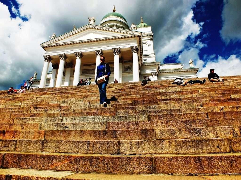 Helsinki Old Town Helsingin Tuomiokirkko (Helsinki Katedrali) Merdivenleri