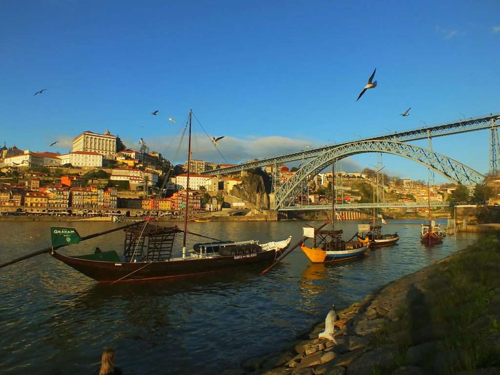 Bulutsuz Havada Öğleden Sonra Ponte Dom Luís I Köprüsü Vila Nova de Gaia