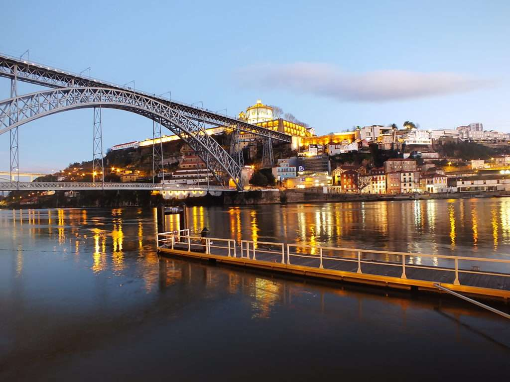 Bulutsuz Havada Gün Batımı Ponte Dom Luís I Köprüsü Riberia