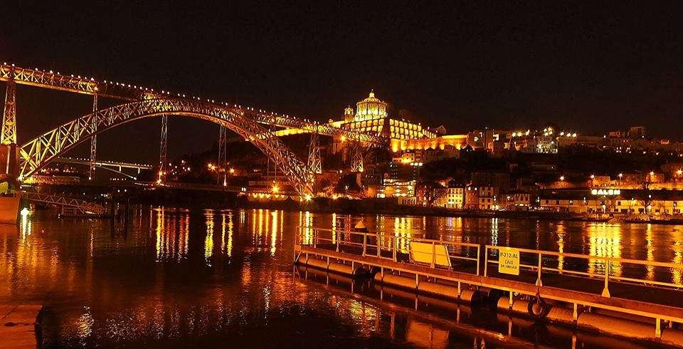 Bulutsuz Havada Gece Ponte Dom Luís I Köprüsü Riberia