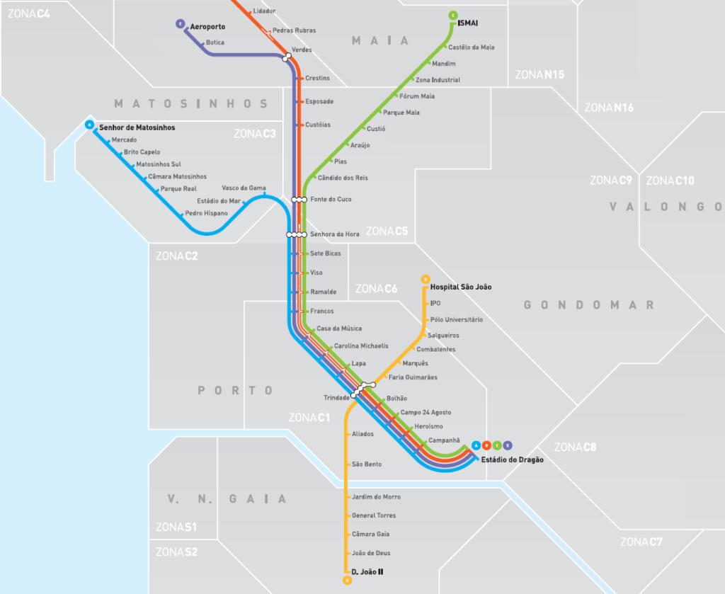 Porto Ulaşım Sistemi Porto Metro Haritası