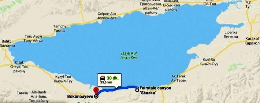Peri Masalı Kanyonu (Skazka)'na Ulaşım Haritası