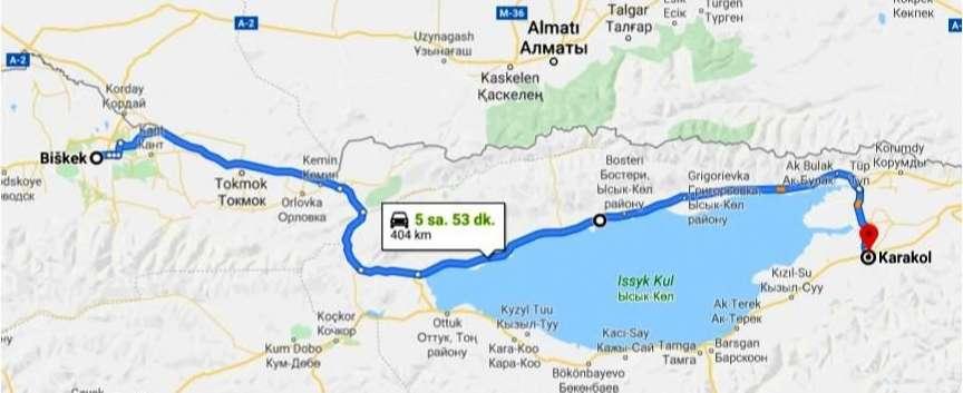 Bişkek'ten Karakol'a Ulaşım Haritası