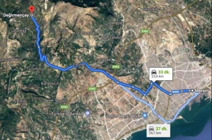 Değirmençay Köyü'ne Ulaşım Haritası