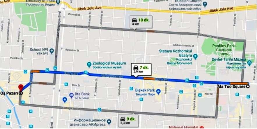 Oş Pazarı'na Ulaşım Haritası