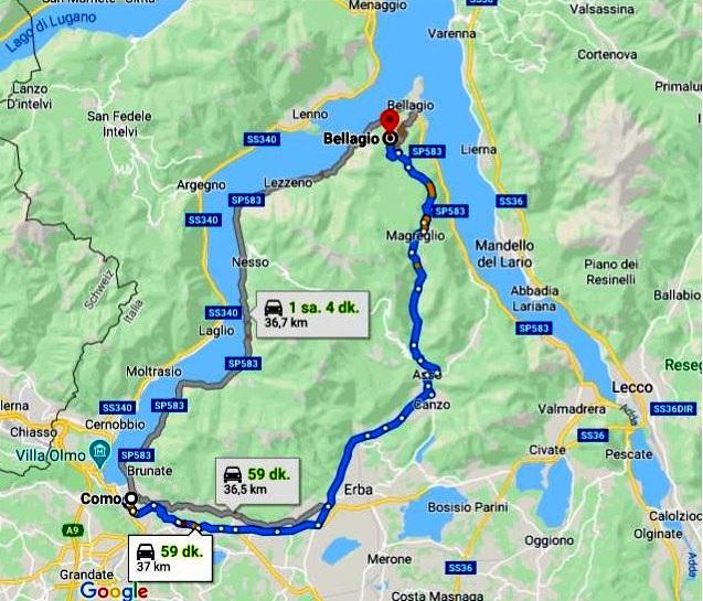 Bellagio Ulaşım Haritası