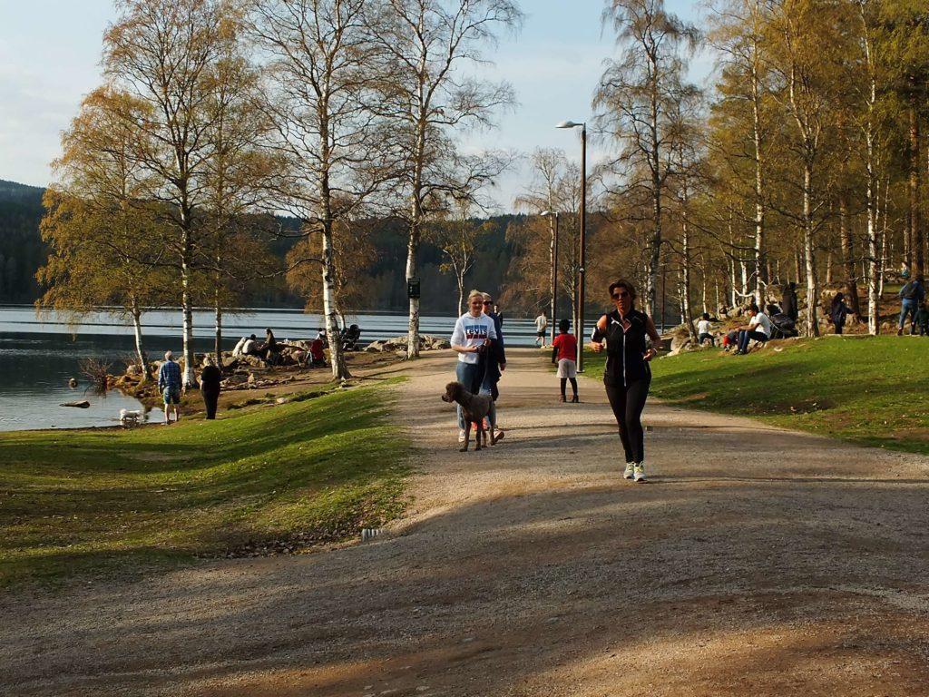 Sognsvann Gölü Koşan İnsanlar